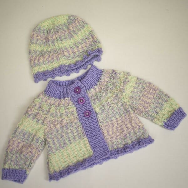First size baby set knitted with West Yorkshire Spinners Bo Peep DK wools